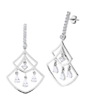 sterling silver chandelier earrings; CZ-set bar on post with angles and curves below; cubic zirconia dangles
