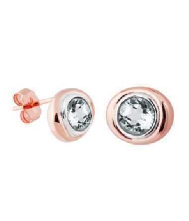 sterling silver bezel-set white topaz earrings; rose gold plate oval frame around the bezel