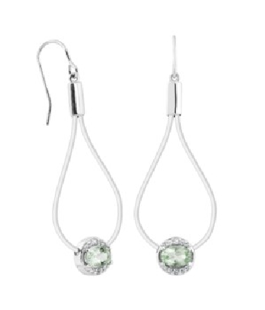 sterling silver French wire earrings with an open teardrop shape dangle holding a green amethyst (quartz) slide; white topaz trim above and below the amethyst