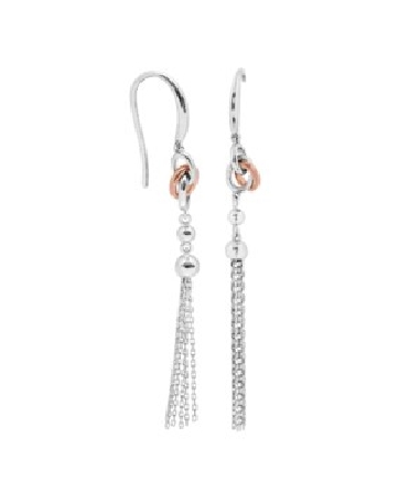 sterling silver French wire earrings with two-tone rose and white knot; bead; and tassel dangle
