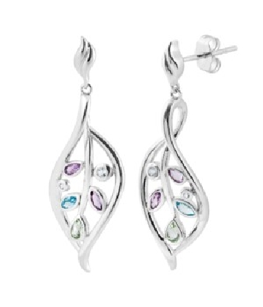 sterling silver post dangle earrings; stylized open leaf shape set with various pastel genuine stones