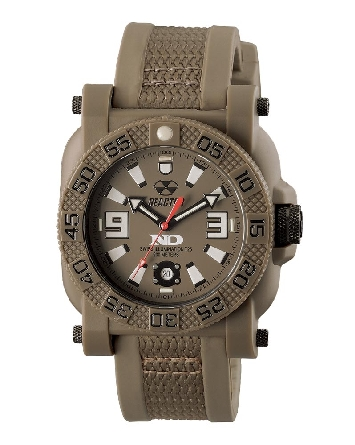 Reactor Gryphon model 73821; flat dark earth Nitride polymer case around stainless steel encased movement; silicone and nylon molded strap; Never Dark dial with superlumnova and tritium tubes; water resistant to 200 meters