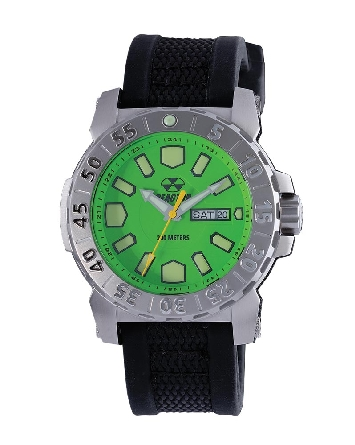 man's watch; stainless steel case; black Gryphon strap; acid green dial; rotating bezel; day/date @ 3:00; W/R 200M; screwdown crown; Reactor Meltdown2 76809