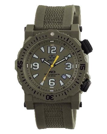 man's watch; olive drab reinforced nitromid polymer over stainless steel case; olive drab rubber & nylon strap; NeverDark dial markers; hands and inner rotating ring; 10 year power cell; Reactor Titan 43809