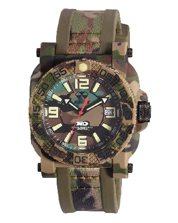 man's watch with camo dial; case and strap; Never Dark tritium technology; red second hand; rotating bezel; W/R 200 meters; Reactor Gryphon 73824