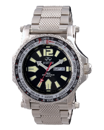 man's watch with stainless steel case and link bracelet; black dial with Superluminova markers and Never Dark technology; red second hand; world time bezel; Reactor Proton 91601