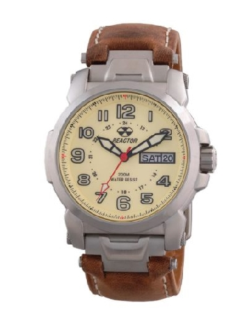 Reactor watch; 42.25mm 316L stainless steel case; ivory dial with Superluminova full numerals and hands; day/date; brown leather strap; W/R to 200M/660 feet