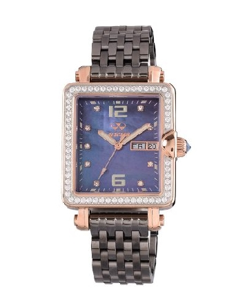 Reactor watch; 30x34mm rectangular case in rose gold tone over 316L stainless steel; with Swarovski crystals prong-set on the bezel; navy mother-of-pearl dial with superluminova dial markings and hands; crystal markers; day and date at 3:00; syntheti