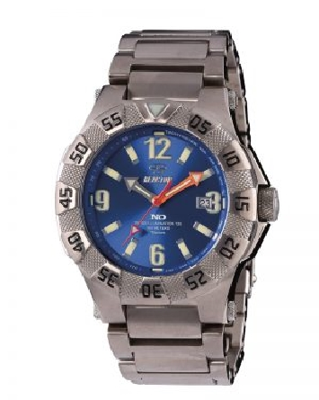 Man s Reactor Gamma 2 watch; titanium case and bracelet with foldover clasp and safety; rotating bezel; Never Dark blue dial with tachymeter and calendar; Super-Luminova numbers and markers; orange minute and second hands are orange; all hands also a