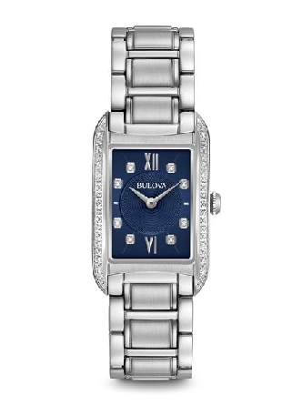 woman's Bulova watch; rectangular stainless steel case and link bracelet with deployment clasp; black dial with Roman 12 and 6; diamonds at 1; 2; 4; 5;7; 8; 10; and 11; row of diamonds on left and right sides of case; 28 total