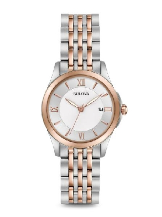 woman's Bulova watch; round stainless steel case with rosetone bezel; white dial with Roman and stick markers; calendar at 3:00; two tone link bracelet with deployment clasp; water resistant