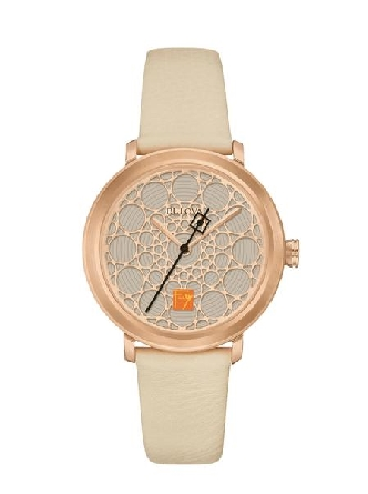 Woman's watch from Bulova s Frank Lloyd Wright Collection; rose-gold tone stainless steel round case and cream white strap; dial pattern was adapted from the dome design of the SC Johnson Administrative Building.