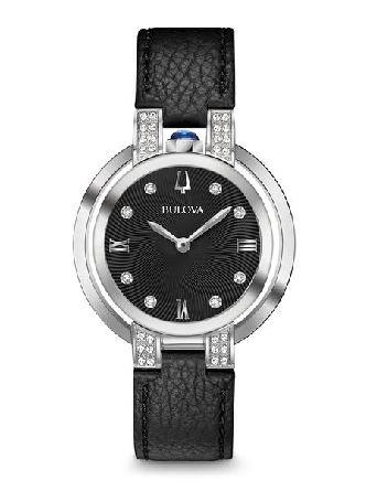 From Bulova s Rubaiyat Collection. Legendary heritage reinvented in stainless steel case with synthetic blue spinel cabochon crown at 12 o clock position and 36 diamonds individually hand set on case and textured black dial; double curved sapphire cr
