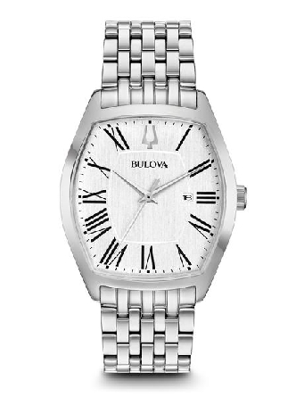 From Bulova s Classic Collection. New sleek Ambassador style in stainless steel with tonneau-shape case; vertical brushed silver-white dial with Roman markers and three-hand calendar feature; domed mineral glass; stainless steel bracelet with double-