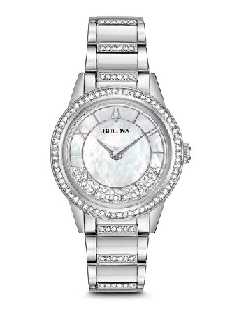 From Bulova s Crystal TurnStyle Collection. In stainless steel embellished with 139 Swarovski©Crystals on bracelet; bezel and floating on white mother-of-pearl dial; domed mineral glass; stainless steel bracelet with deployant closure; and water res