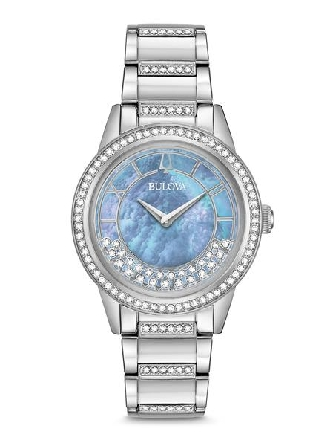 woman's Bulova watch; Swarovski® Crystals on the bracelet; bezel and dial. Stainless steel case; periwinkle mother-of-pearl dial with swinging crescent of crystals; domed mineral crystal; stainless steel bracelet; deployant closure; quartz movement;