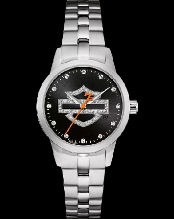 Woman's Harley-Davidson watch by Bulova; black dial with glitter-textured open bar-and-shield logo; crystal markers at all hours; orange second hand with signature H-D counterweight; stainless steel case and bracelet; fold-over clasp with safety lock