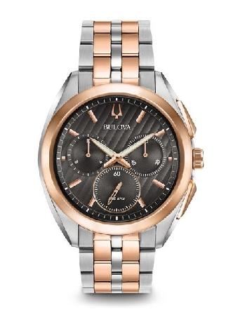 man's Bulova watch from the new CURV Collection. The world's first curved chronograph movement features high- performance quartz technology with 262 kHz vibrational frequency for precise accuracy. Five-hand chronograph in stainless steel case; rose t
