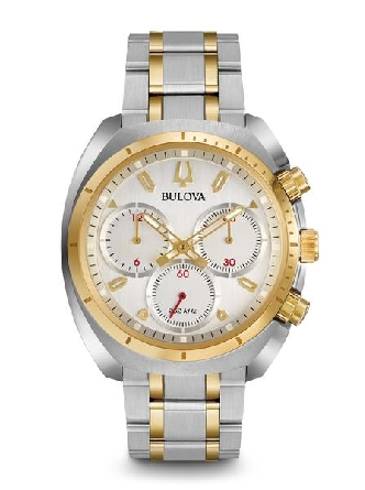 man's Bulova watch from the new CURV Collection. The world's first curved chronograph movement features high- performance quartz technology with 262 kHz vibrational frequency for precise accuracy. Five-hand chronograph in stainless steel case and gol