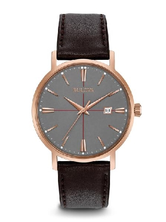 man's Bulova watch; round rose tone stainless steel case; grey dial with rose tone markers and hands; calendar at 3:00; brown leather strap; water resistant