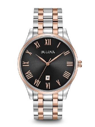 man's Bulova watch; round stainless steel case with rose tone bezel; black dial with rose markers; 3 hands; calendar at 6:00; water resistant; two tone steel and rose link bracelet with deployment clasp
