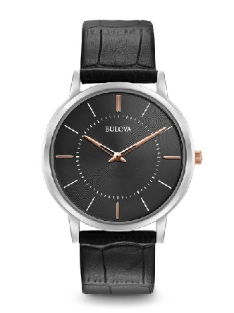 man's Bulova watch; round stainless steel thin case; dark grey dial; rose and white markers; rose hands (2) and crown; black leather strap