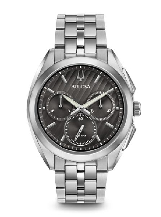 man's Bulova watch from the new CURV Collection. The world's first curved chronograph movement features high-performance quartz technology with 262 kHz vibrational frequency for precise accuracy. Five-hand chronograph in stainless steel case dark gre