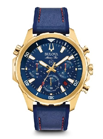 From Bulova s Marine Star Collection. Six-hand chronograph function with calendar; gold-tone stainless steel case with rotating dial ring to measure elapsed time; blue dial with gold-tone accents; flat mineral glass; screw-back case; blue leather and