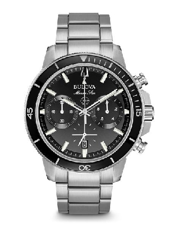 From Bulova s Marine Star Collection. New six-hand chronograph movement with 200-meter water resistance. In stainless steel with black glass insert on ratcheted rotating bezel; black dial with luminous hands and markers; and calendar feature; domed m