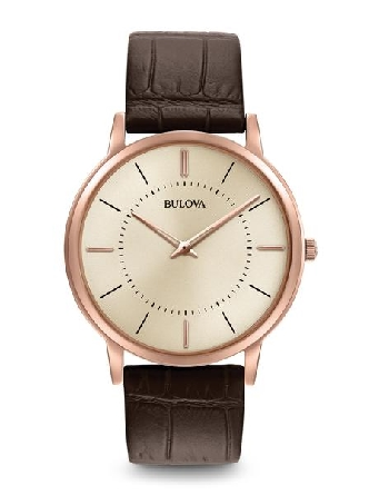 From Bulova s Classic Collection. New ultra-slim case in rose gold-tone stainless steel and goldtone dial; flat mineral glass; alligator grain brown leather strap with three-piece buckle closure.
