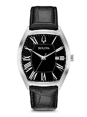 From Bulova s Classic Collection. New sleek Ambassador style with tonneau-shape stainless steel case; black dial with Roman markers and three-hand calendar feature; domed mineral glass; croco-embossed black leather strap with double-press deployant b