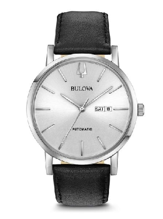 From Bulova s Classic Automatic Collection. New American Clipper style in stainless steel case; automatic self-winding movement with 40-hour power reserve and open case back; silver-white dial with markers and day/date feature; flat mineral glass; sm