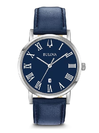 From Bulova s Classic Collection. New American Clipper slim-profile style in stainless steel case; dark blue dial with Roman markers and date feature; flat mineral glass; smooth grain blue leather strap with three-piece buckle closure; and water resi