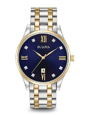 From Bulova s Diamonds Collection. New 8-diamond blue dial; stainless steel and gold-tone accents on case and bracelet with double-press deployant closure; three-hand calendar; flat mineral glass.