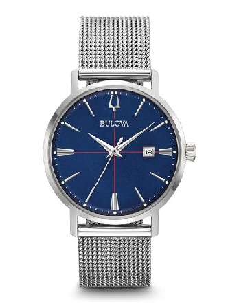 From Bulova s Classic Aerojet Collection. In stainless steel; deep blue dial with silver-tone accents and three-hand calendar feature; box mineral glass; stainless steel mesh bracelet with double-press deployant closure; and water resistance to 30 me