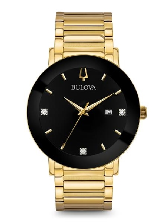 Man s Modern Diamond Watch from Bulova in black IP and gold-tone stainless steel with three diamonds on black dial; three-hand date feature; metalized edge-to-edge curved crystal; screw-back case; gold-tone stainless steel bracelet with deployant clo