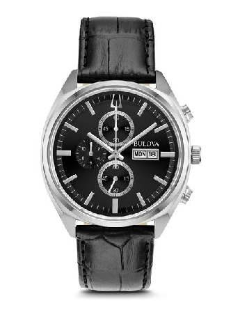 Man s Bulova watch; heritage-inspired quartz chronograph with stainless steel case; black six-hand dial with day/date feature; domed mineral crystal; black croco-embossed leather strap with three-piece buckle closure; and water resistance to 30 meter