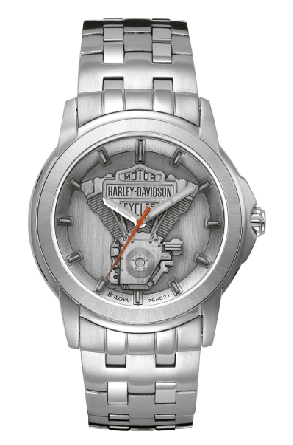 Man s Harley-Davidson watch by Bulova from the Signature Collection; pewter medallion dial; luminous hands; stainless steel case and bracelet; fold-over clasp with safety lock.