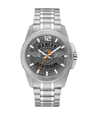 Man s Harley-Davidson watch from Bulova; grey medallion dial with open bar+shield logo and wings; luminous hands; orange second hand with signature H-D© counterweight; stainless steel case and bracelet; snap back; fold-over clasp with safety lock.