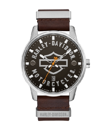 Man s Harley-Davidson watch by Bulova; matte black dial detailed with open bar+shield and Harley-Davidson® Motorcycle logos; calendar feature; white luminous hands and orange second hand with signature H-D® counterweight; stainless steel case; screw