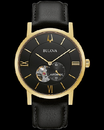 Bulova American Clipper: gold-tone stainless steel case with open aperture black dial with exhibition case back offering a glimpse of the 21-jewel automatic heartbeat movement with a 42-hour power reserve. Dial features gold-tone hands and markers an