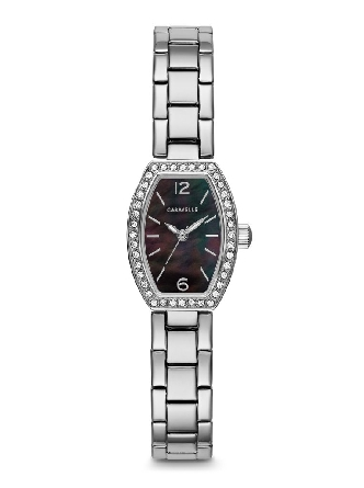 Woman's Caravelle; 40 crystals embellish the stainless steel case; black mother-of-pearl dial and stainless steel bracelet with jeweler's clasp closure.