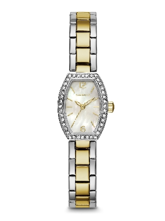Woman's Caravelle; 40 crystals embellish a gold-tone stainless steel case. Silver-white mother-of-pearl dial. Gold-tone accents on stainless steel bracelet with jeweler's clasp closure.