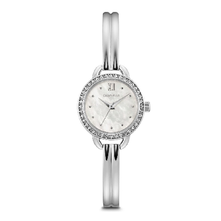 Woman's Caravelle; jewelry-inspired design shimmers with 40 crystals on stainless steel case with white mother-of-pearl dial. Ingenious stainless steel bracelet-meets-bangle style with easy-to-adjust jeweler's clasp closure.