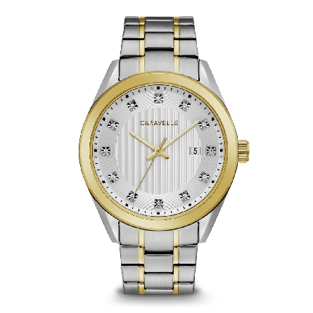 man's Caravelle watach; High-quality Austrian crystal hour markers on three-hand silver-white dial with date feature. Two-tone gold and stainless steel case and accented bracelet with double-push fold-over closure.