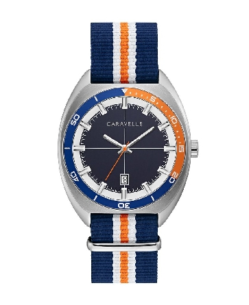 man's Caravelle watch with a retro vibe; bi-colored bezel of navy & orange matches the sophisticated striped NATO strap with silver-tone sliding clasp and buckle closure; two-tone brushed and polished stainless steel case; navy matte textured dial bo