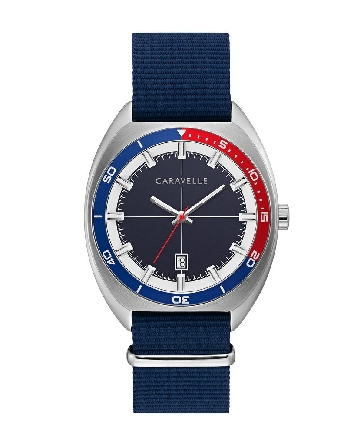 man's retro vibe Caravelle watch; bi-colored bezel of navy & red matches the striped NATO strap with silver-tone sliding clasp and buckle closure; two-tone brushed and polished stainless steel case; navy matte textured dial boasts fine cross-hair det
