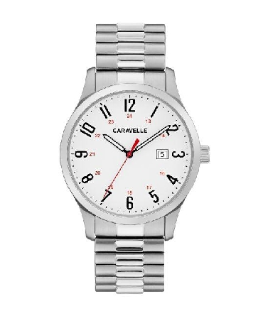 man's Caravelle watch;  easy-to-read bold 24-hour design and three-hand date feature on matte white dial. Stainless steel case and comfort-fit expansion bracelet are the finishing touches on this classic watch.