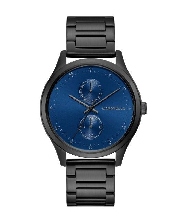 man's Caravelle watch; minimalist-design hour markers on deep-water blue sunray dial and five-hand multifunction feature with date and 24-hour sub dials. Black IP stainless steel case and bracelet with double-push fold-over closure
