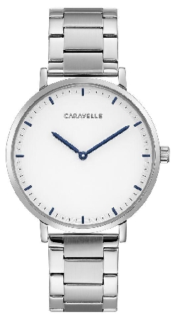 man's Caravelle watch; round case with minimalist hour markers and two hands; link bracelet with clutch-action clasp
